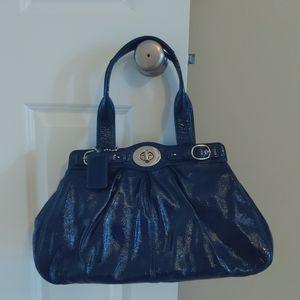 Coach blue patent leather satchel